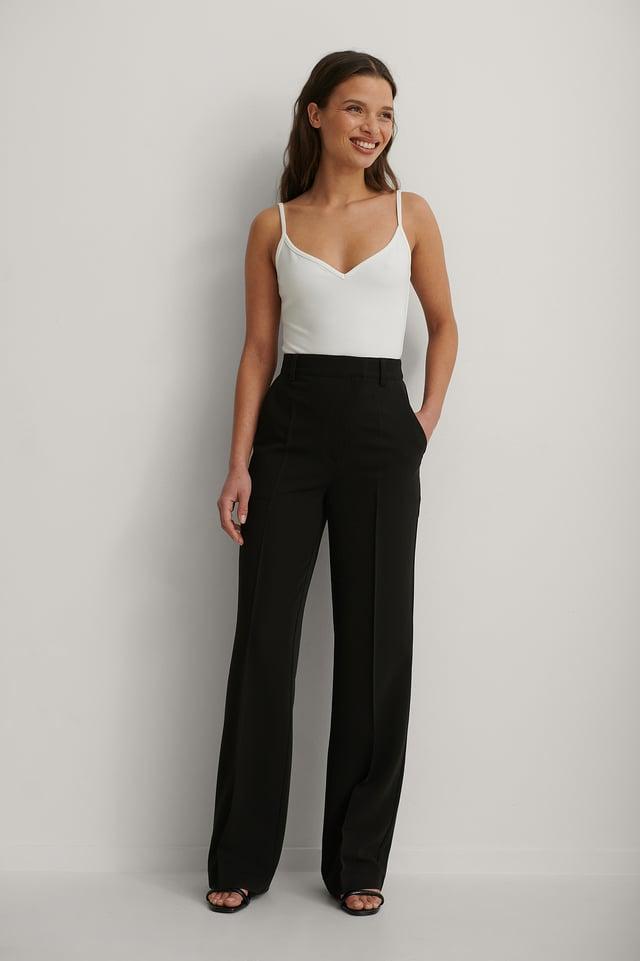 Black Pantalon De Costume