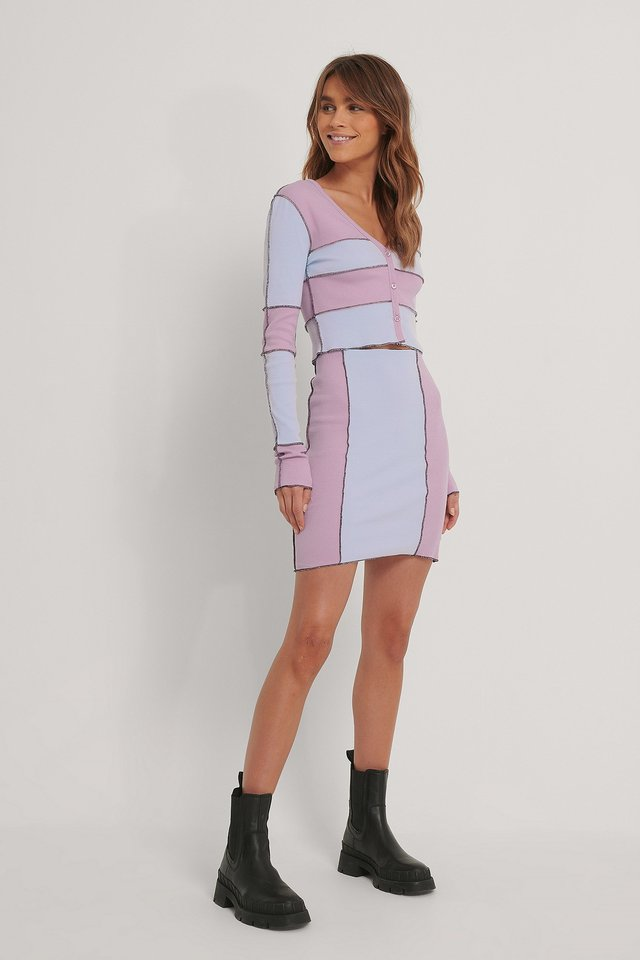 Dusty Pink Jupe Taille Haute