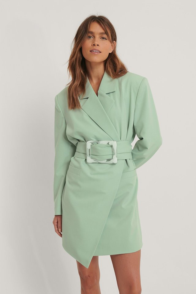 Robe Blazer À Grosse Ceinture Dusty Green