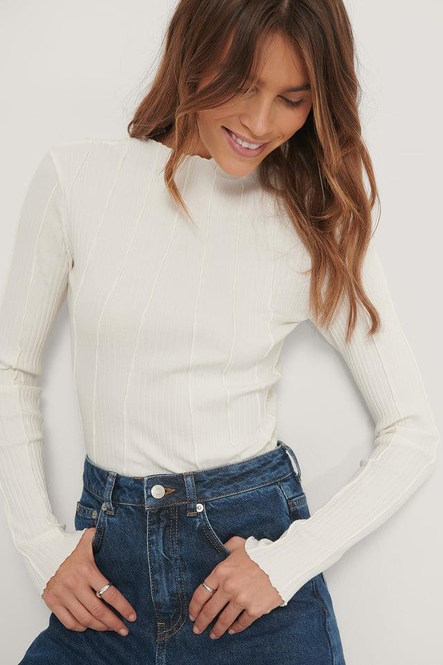 Biologique Haut À Coutures Apparentes Off White