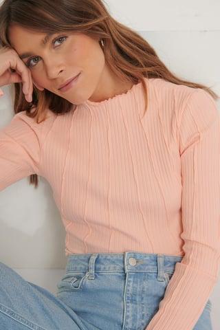 Pink Peach Biologique Haut À Coutures Apparentes