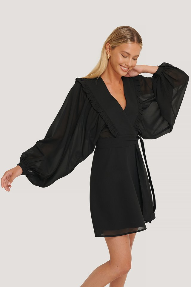 Robe Mini Cache-Coeur À Manches Bouffantes Black