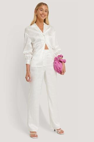 White Pantalon Jambe Large En Satin