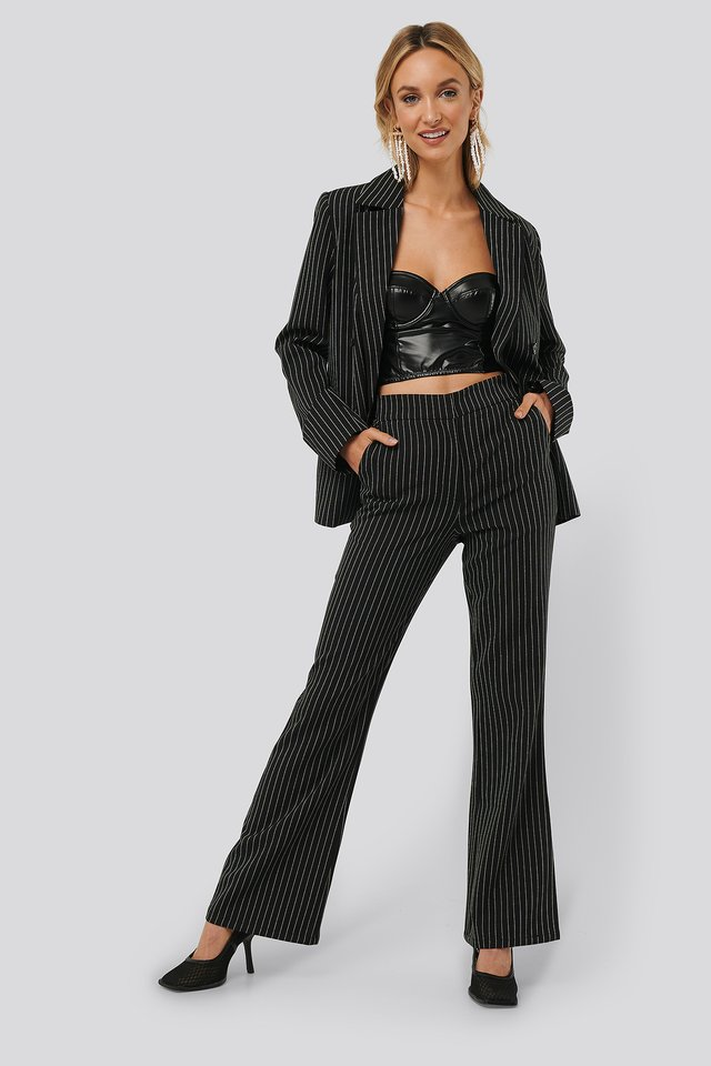 Pinstriped Flared Suit Pants Black/Stripe