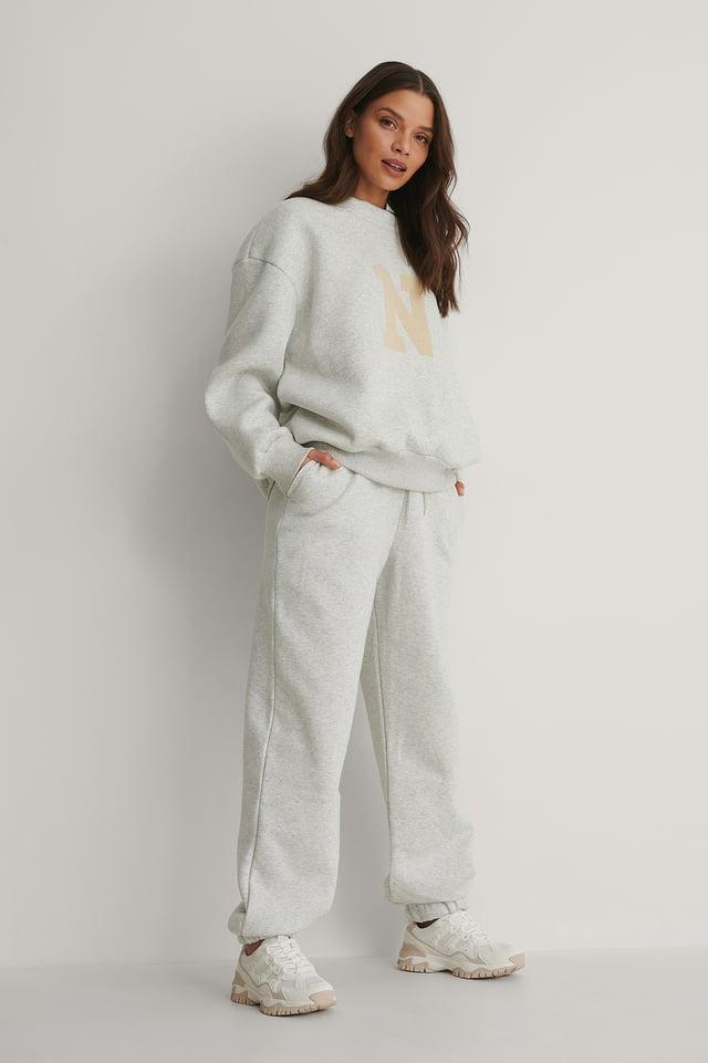 Grey Melange Biologiques Pantalon De Survêtement