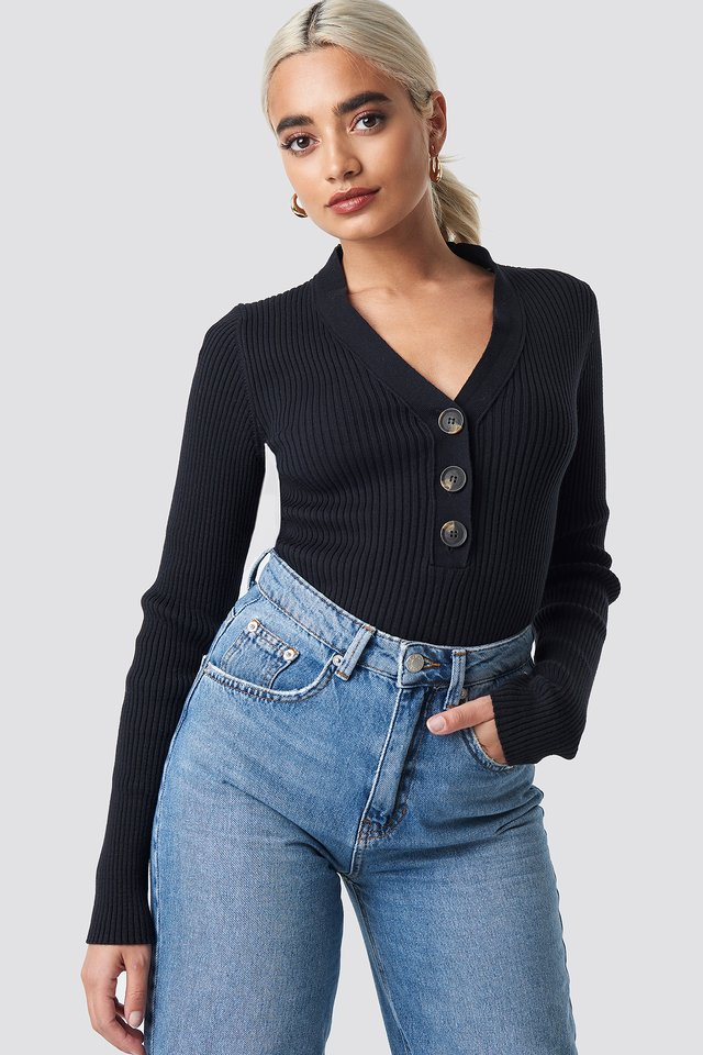 Black Button Up Knitted Sweater