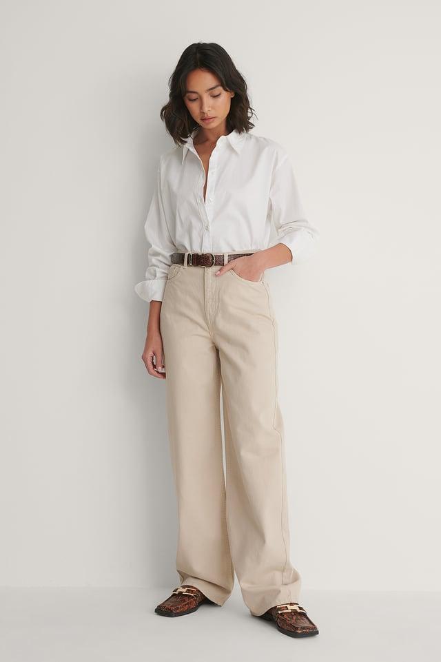 Beige Biologiques Jean Large Taille Haute