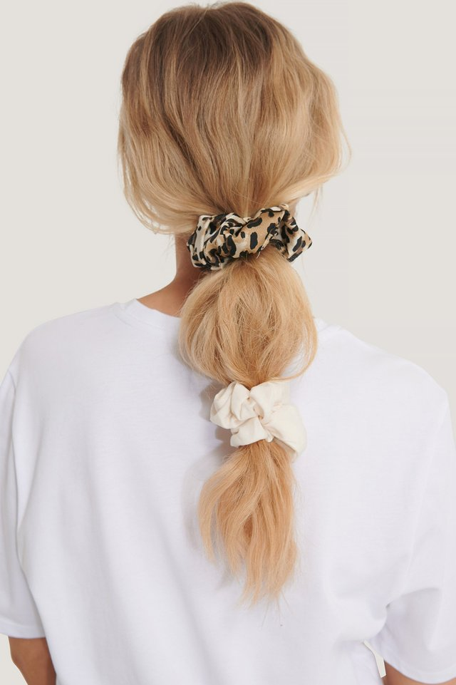 2-Pack Leo Mix Scrunchies White/Leopard