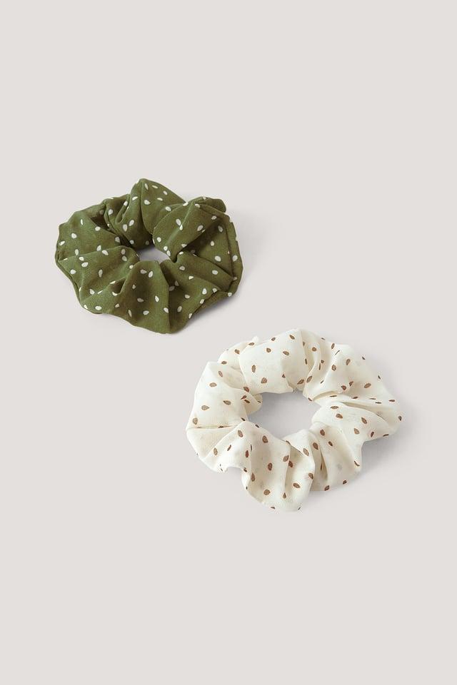 Lot De 2 Chouchous À Pois Green/White
