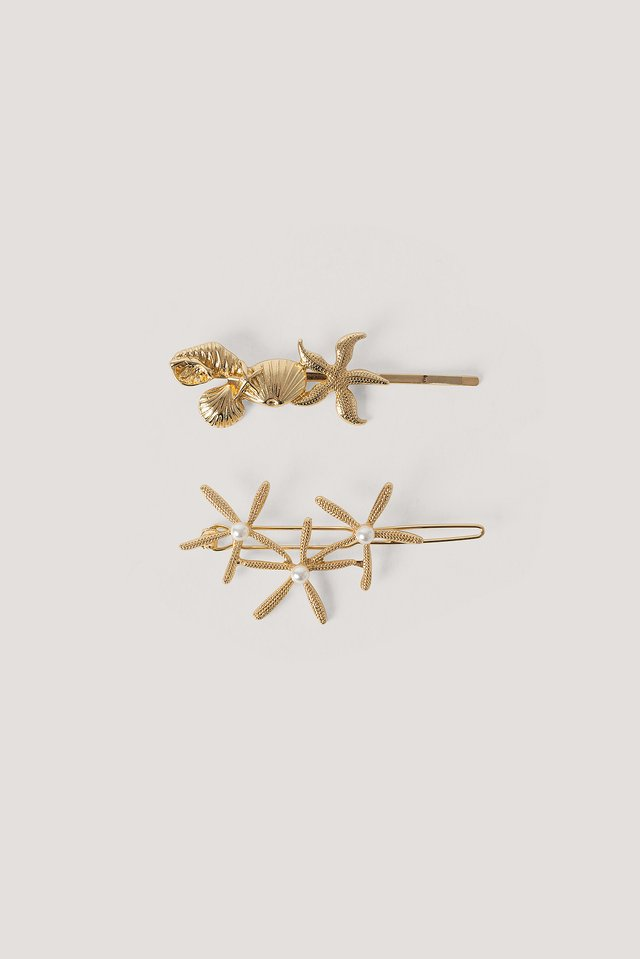 Gold Lot De 2 Épingles À Cheveux Étoile De Mer