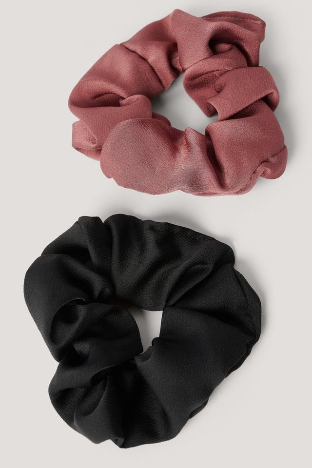 2-Pack Shiny Scrunchies Black/Red