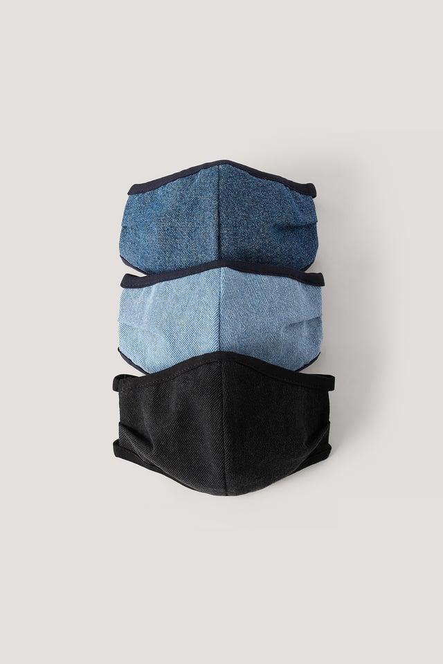Lot De 3 Masques Faciaux En Jean Blue Combo
