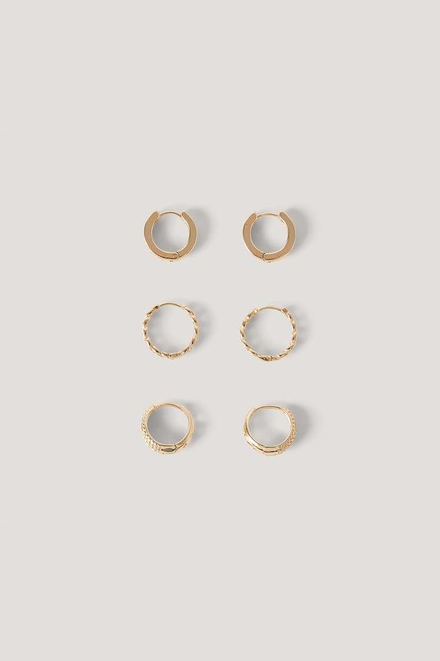 Lot De 3 Paires De Mini-Créoles À Motifs Gold