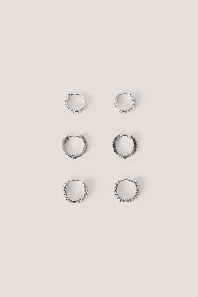 3-Pack Structured Tiny Hoops Silver