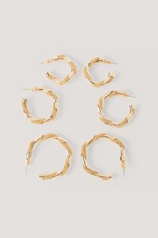 Gold Lot De 3 Paires De Boucles D'Oreilles