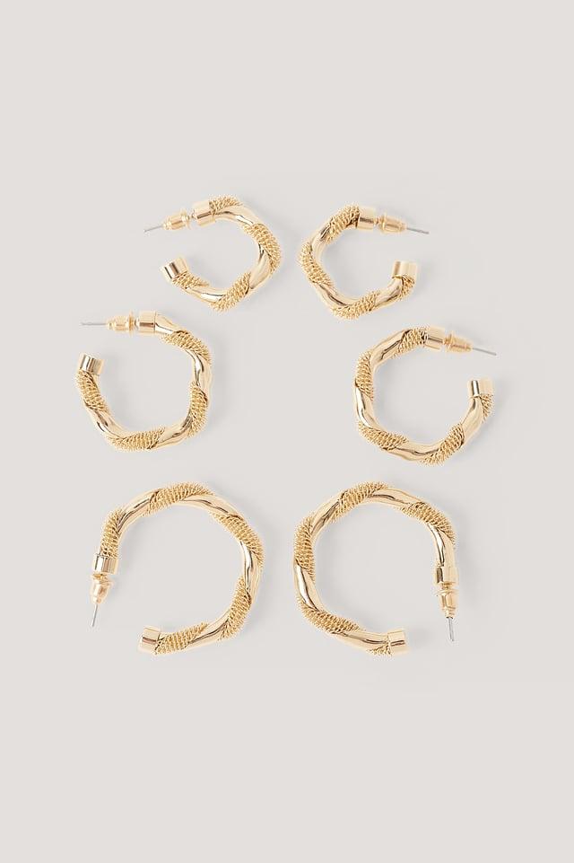 Lot De 3 Paires De Boucles D'Oreilles Gold