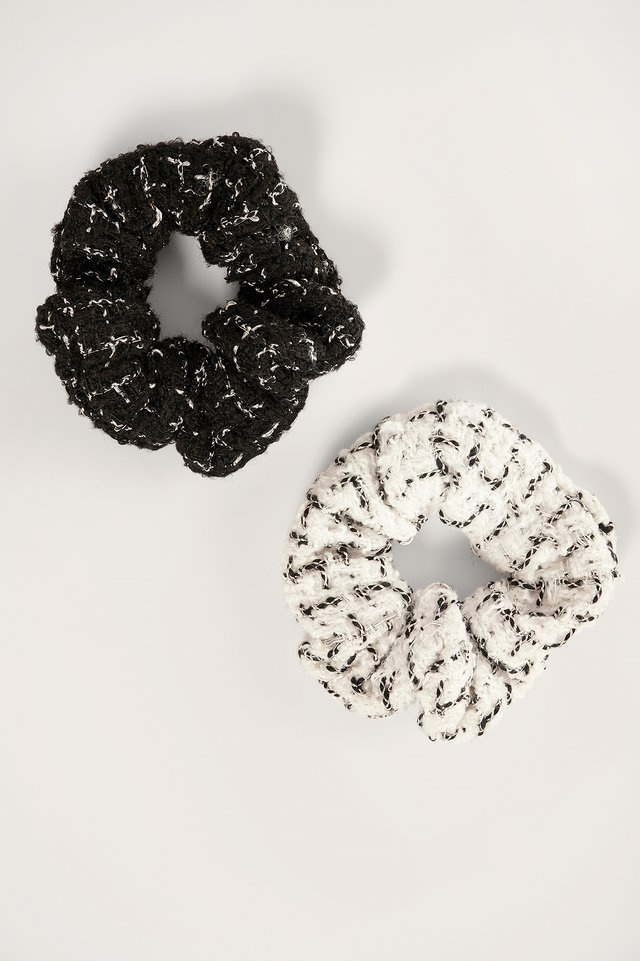 Black/White 2-pack Tweed Scrunchies