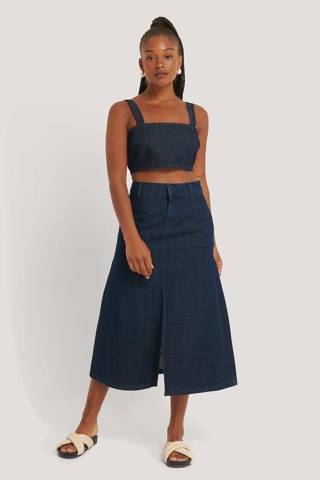 Dark Blue Jupe Mi-Longue En Jean