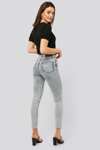 Light Blue Jean Taille Haute