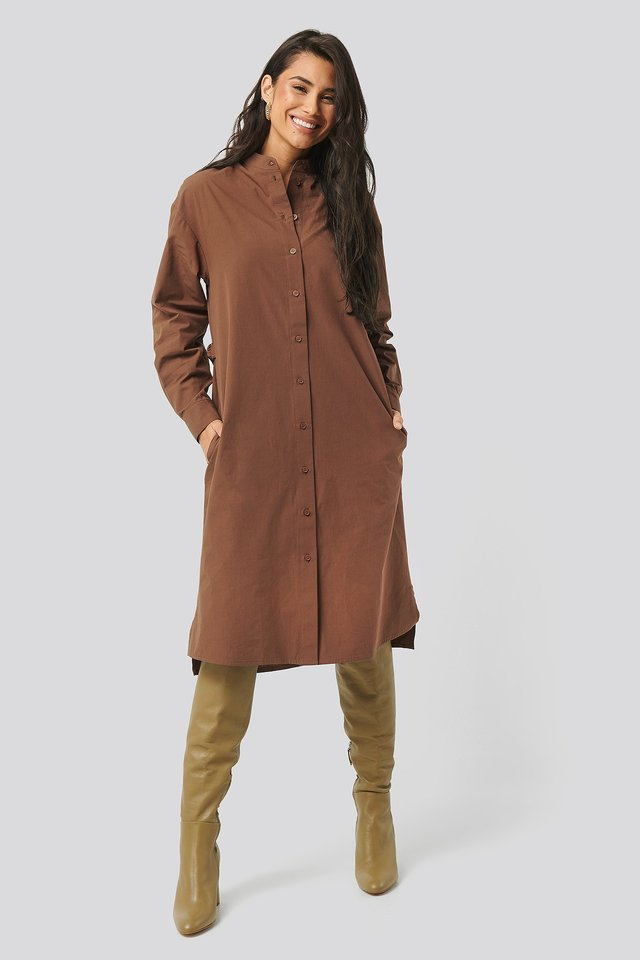 Brown Adjustable Side Strap Shirt Dress