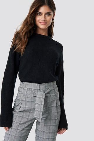 Black Alpaca Wool Blend Round Neck Sweater