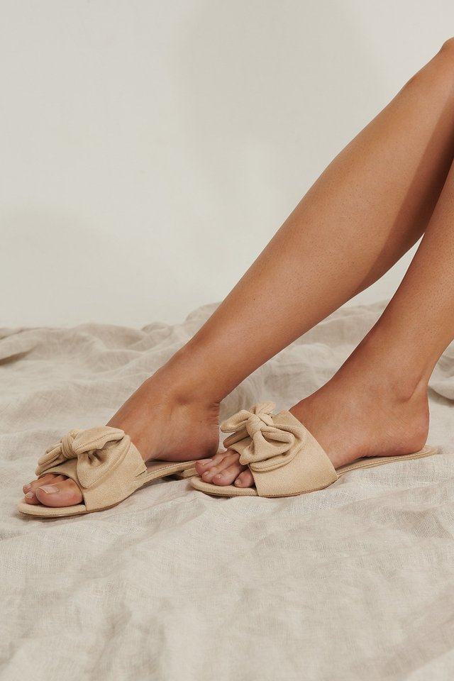Sandales À Rosette Beige
