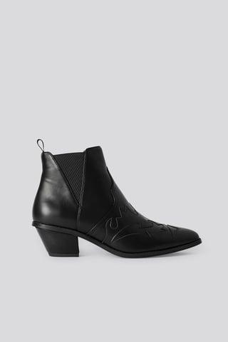 Black Ankle Cowboy Bootie