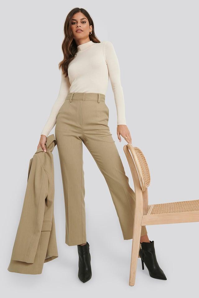 Ankle-Length Suit Pants Light Dusty Green