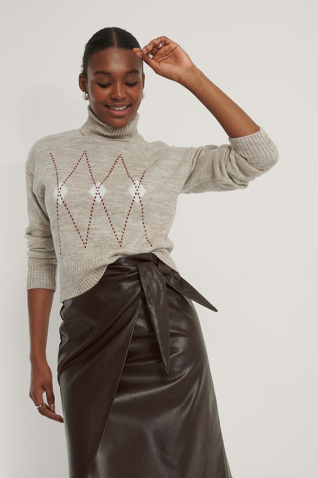 Argyle Knitted Sweater Pale Mauve