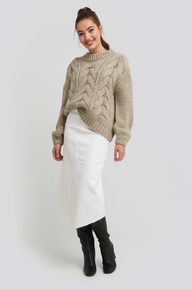 White Asymmetric Hem Denim Skirt