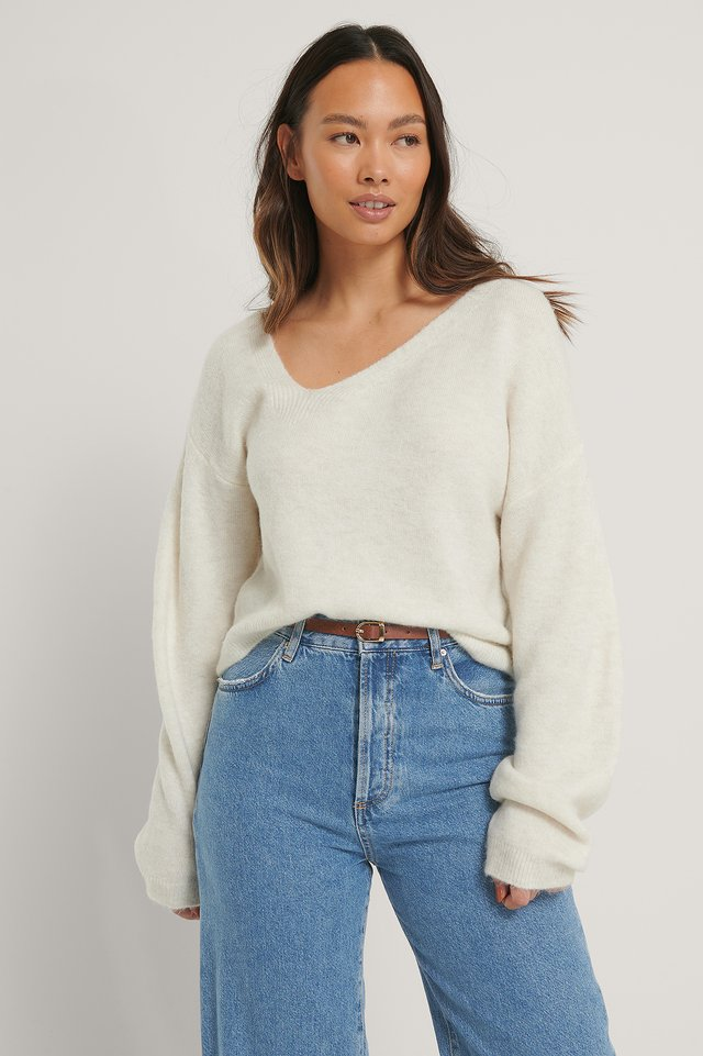 Asymmetric Neckline Knitted Sweater Offwhite