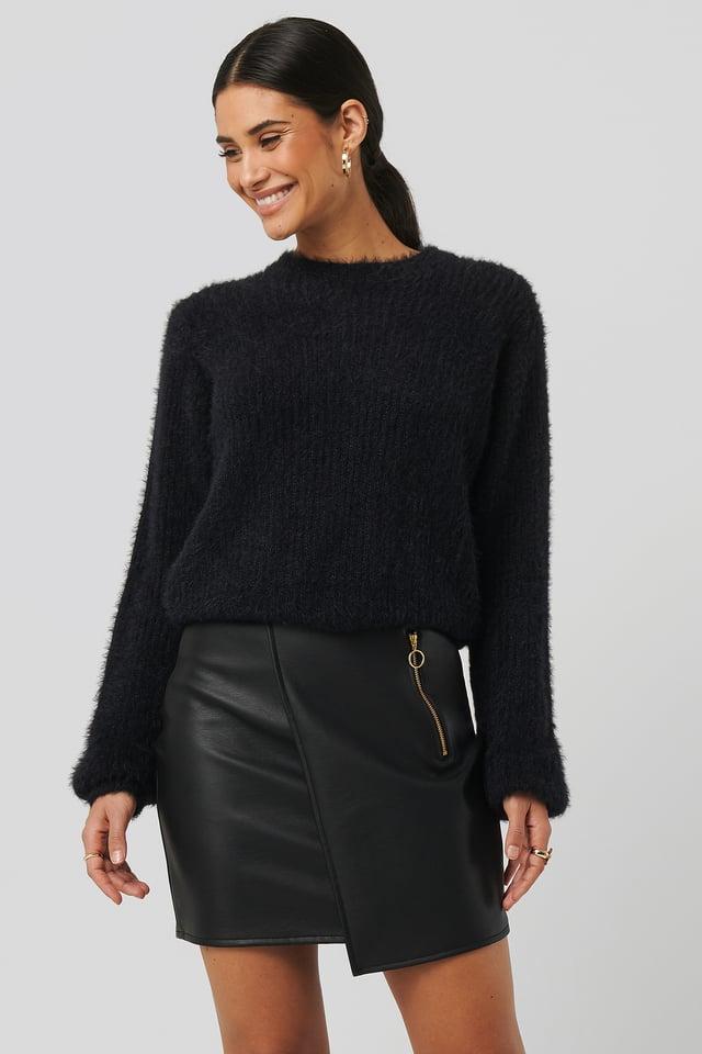 Asymmetric PU Zipper Skirt Black