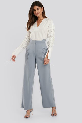 Light Blue Asymmetric Waist Pants