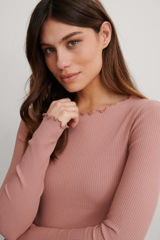 Dusty Pink Top Manches Longues