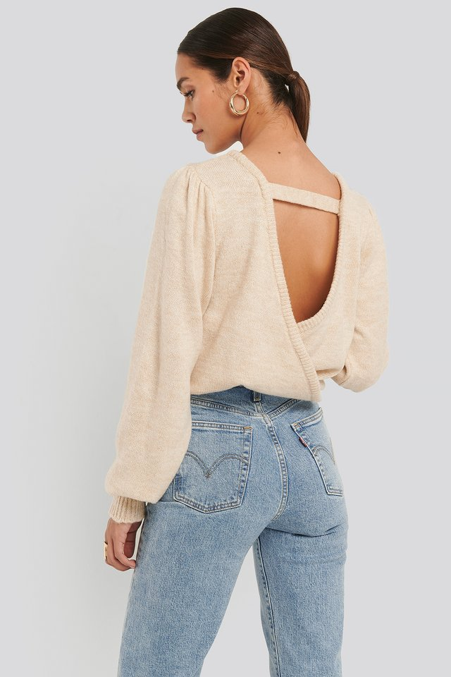 Back Overlap Puff Sleeve Knitted Sweater Beige