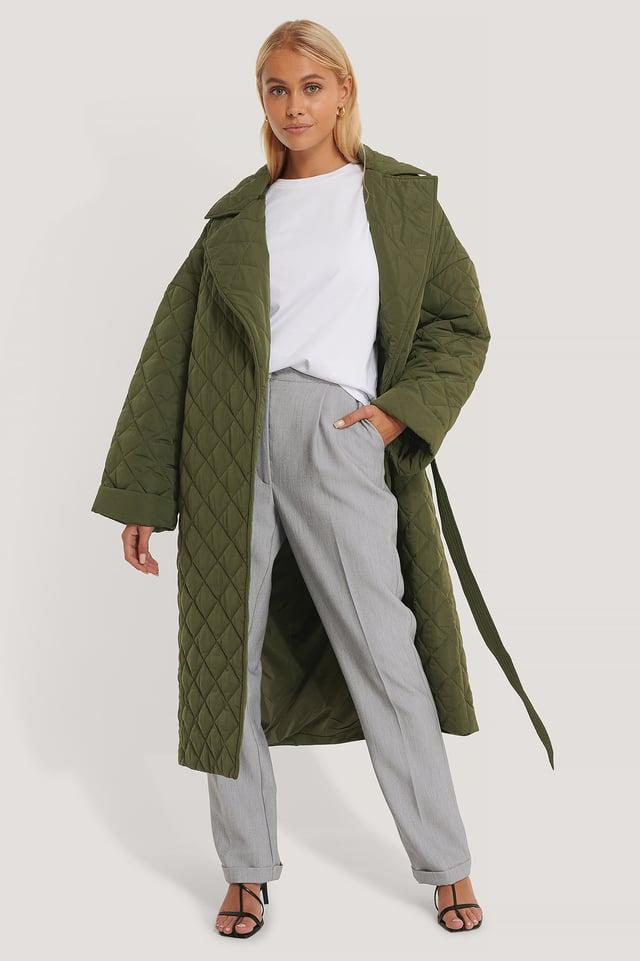 Manteau Matelassé Fendu Dans Le Dos Green