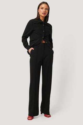 Black Pantalons De Costume À Fente
