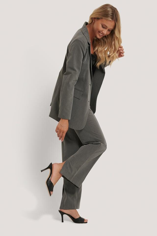 Pantalons De Costume À Fente Grey