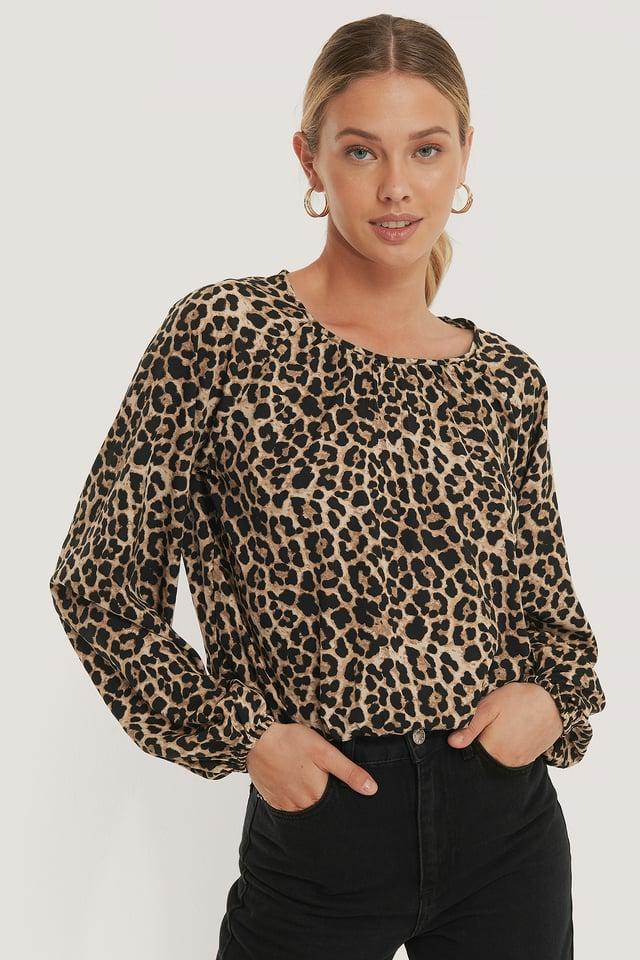 Balloon Sleeve Leo Blouse Leopard
