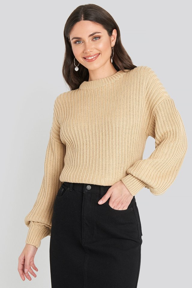 Balloon Sleeve Round Neck Sweater Light Beige