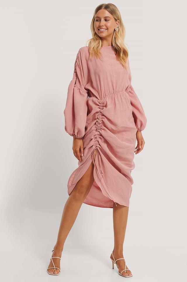 Robe Ballon Mi-Longue Drapée Dusty Pink