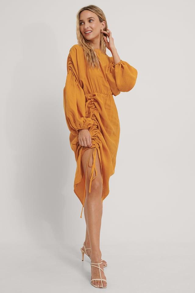 Robe Ballon Mi-Longue Drapée Orange