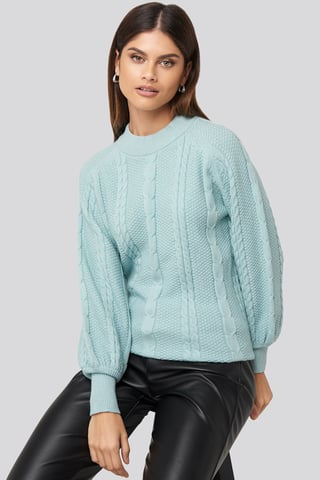 Blue Balloon Sleeve Cable Knitted Sweater