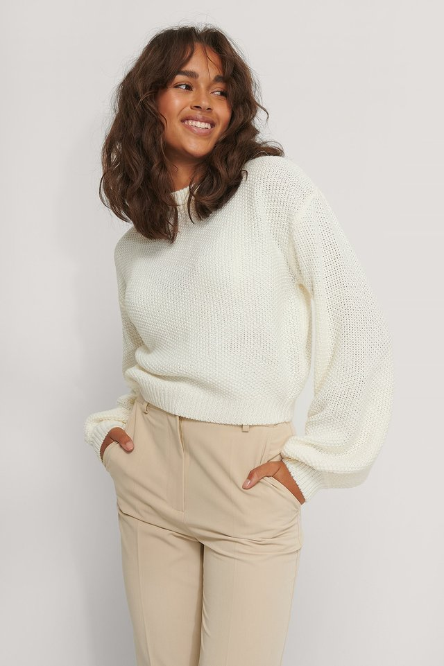 Pull En Maille Court Offwhite