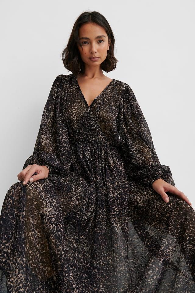 Robe Cache-Coeur Structurée Et Manches Ballon Leopard
