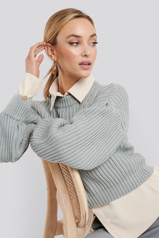 Grey Balloon Sleeve Round Neck Sweater