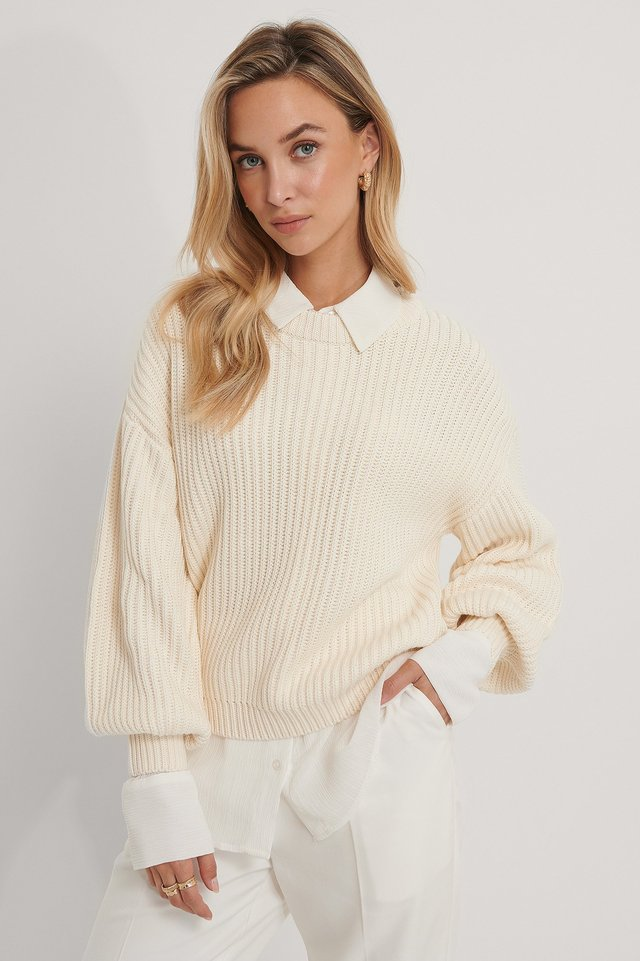 Biologique Pull Tricoté Col Rond Offwhite