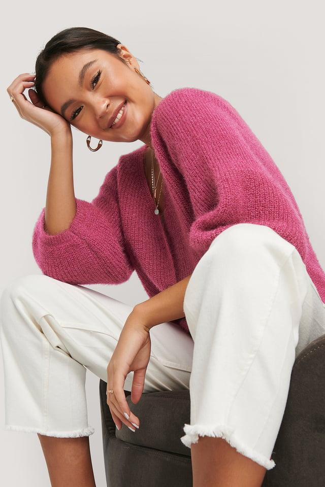 Fuchsia Balloon Sleeve Short Knitted Cardigan
