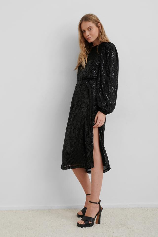 Robe À Paillettes Manches Longues Black