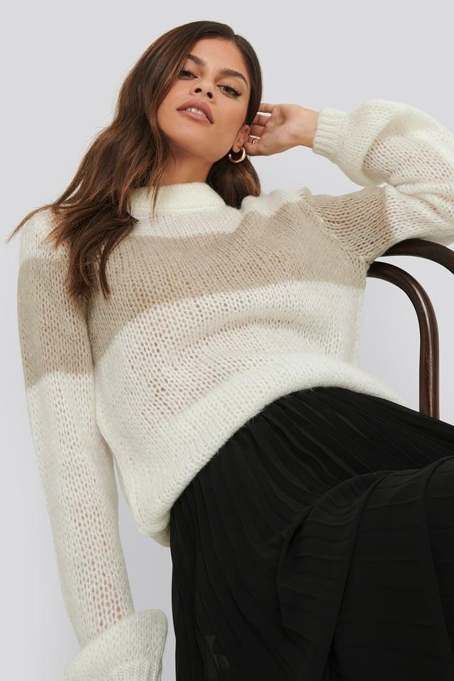Balloon Sleeve Striped Knitted Sweater White/Beige Stripe